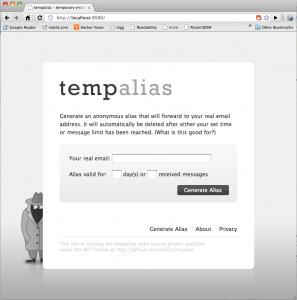 Screenshot of tempalias HTML running in Chrome